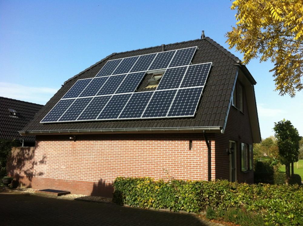 schaduw zonnepanelen plat dak
